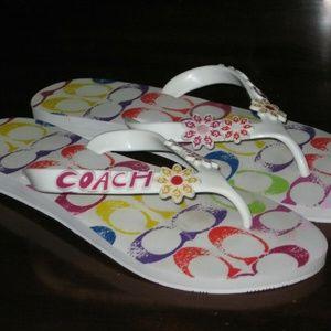 COACH Kerrie White Flip Flops Size 7